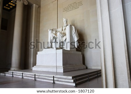 Interior view of the Lincoln Memorial in Washington, DC. - stock photo