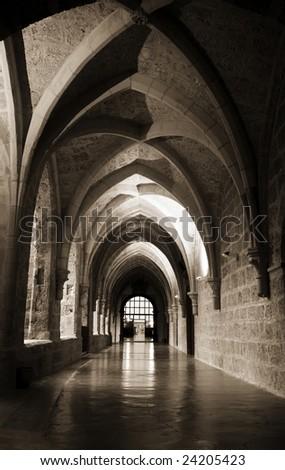 Interior view of the Monasterio de Piedra, in Zaragoza province. - stock photo