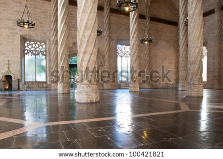 Interior view of the Old Silk Exchange (Lonja de la Seda), Valencia, Spain. UNESCO World Heritage Site. - stock photo