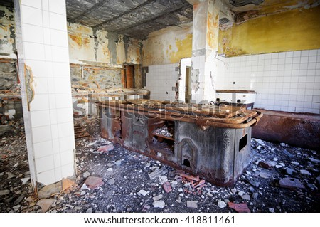 interior view of the ruins of an abandoned building - stock photo