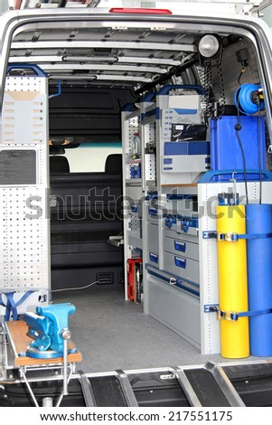 Interior view of tool utility service van