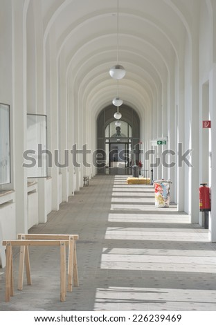 Interior View of Workshop Corridor with Saw Horses - stock photo