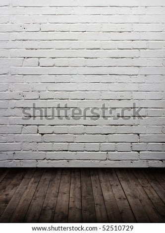 interior vintage room with white brick wall - stock photo