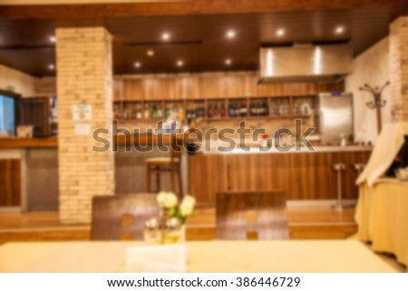 Interior vintage small restaurant blurred background. Blurred bokeh cafe interior in soft pastel colors. Warm cozy home style. As a basis for creative design menu.