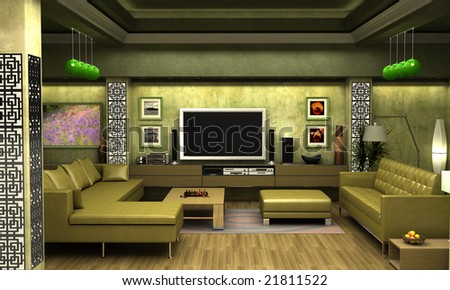 Interior visualization of a living room. - stock photo