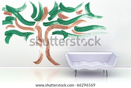 Interior wall design. White wave sofa furniture on tree wallpaper background.