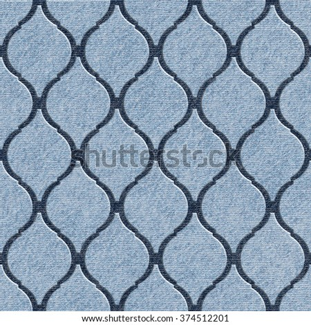 Interior wall panel pattern - abstract decoration material - Arabic decor - geometric style - seamless background - blue jeans textile - stock photo
