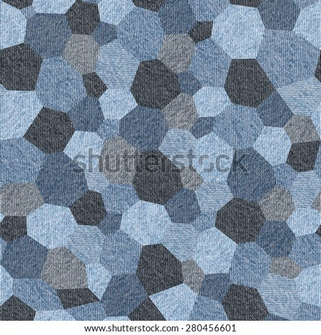 Interior wall panel pattern - hexagonal grid - wrapping paper - seamless background - Blue denim jeans - stock photo
