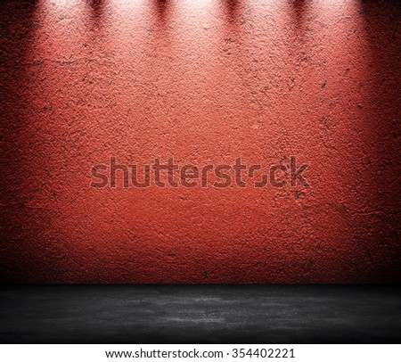 interior wall with spotlight  - stock photo