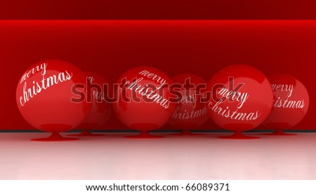 Interior whit big red ball for Christmas - stock photo