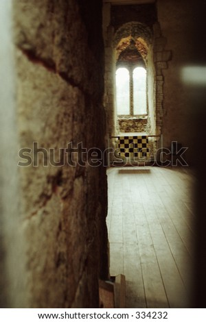 interior window of Guilford Castle - stock photo