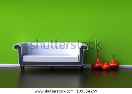 Interior with a green wall and a black sofa - stock photo