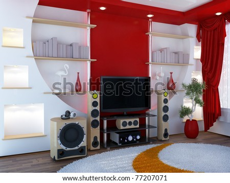 Interior with a home theater - stock photo