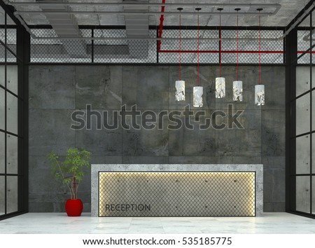 Interior with a reception desk in the loft style. 3d visualization.