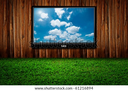 Interior with a television set on green grass against wooden wall - stock photo