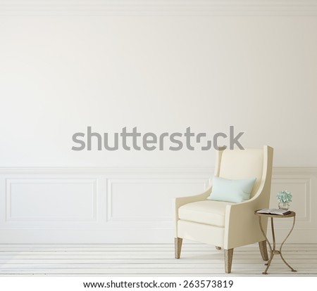 Interior with beige armchair near white wall. 3d render. - stock photo