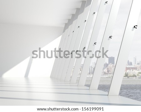 Interior with big windows - stock photo