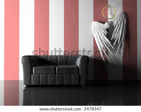 Interior with black sofa and pair wings - stock photo