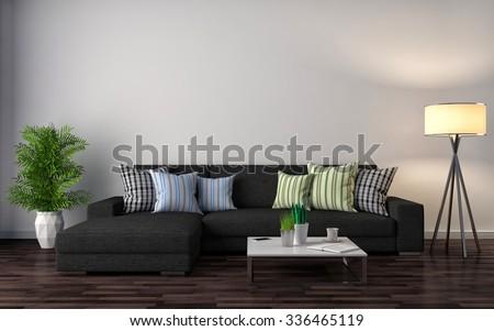 interior with black sofa. 3d illustration - stock photo