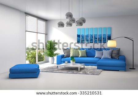 interior with blue sofa. 3d illustration - stock photo