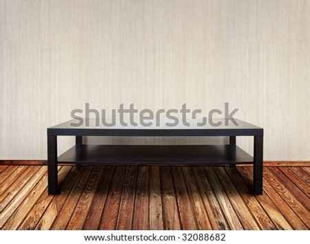 interior with brown table - stock photo