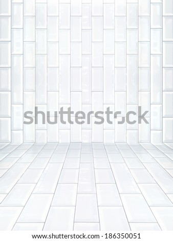 Interior with ceramic tile wall - stock photo