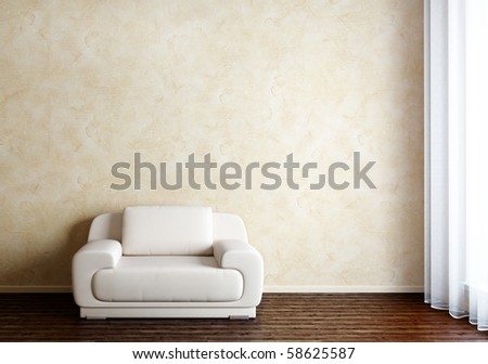 Interior with Chair and window - stock photo