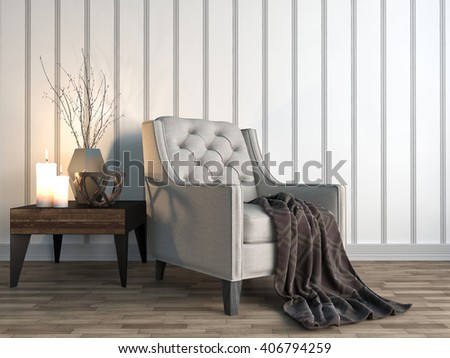 interior with chair. 3d illustration - stock photo