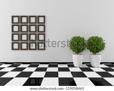 interior with checkerboard floor - stock photo