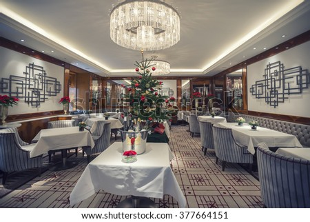 interior with Christmas Tree in Vienna restaurant