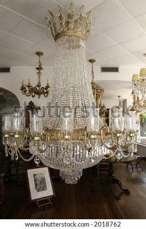Interior with crystal glass chandelier - stock photo