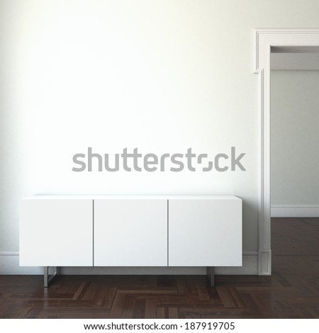 interior with doorway and shelves - stock photo
