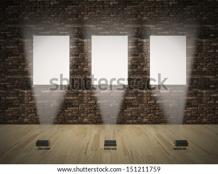 Interior with empty frames on wall 3D - stock photo