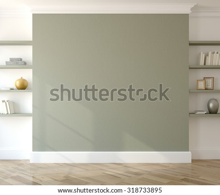 Interior with empty green wall and shelves. 3d render. - stock photo