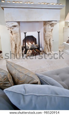 interior with fire place living in country style