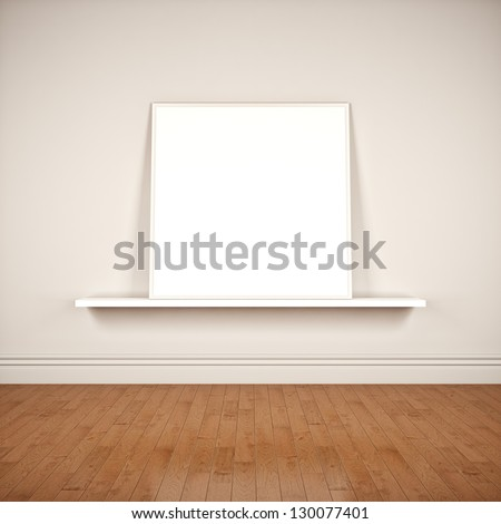 Interior with frame on the wall - stock photo