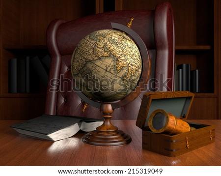 interior with globe - stock photo
