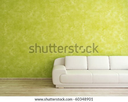 Interior with green wall and white sofa - stock photo