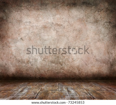 interior with grunge wall - stock photo
