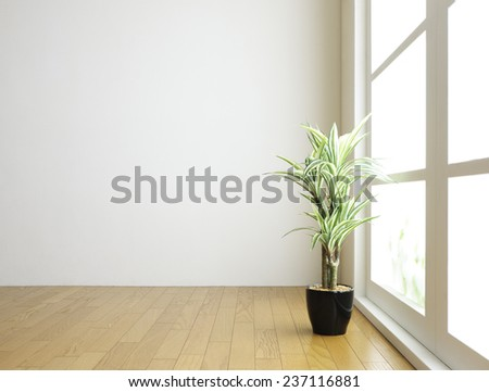 interior with houseplant. - stock photo