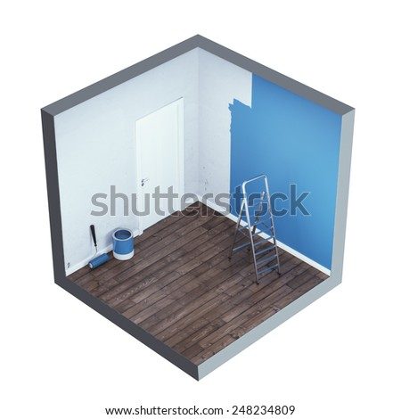Interior with ladder and paint - stock photo