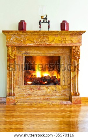 Interior with luxurious yellow marble fire place