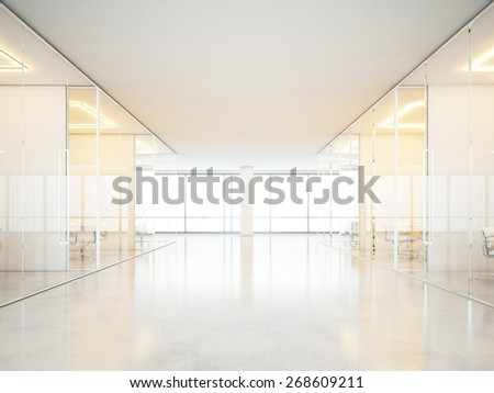 Interior with meeting rooms. 3D rendering - stock photo