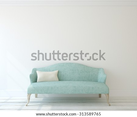 Interior with modern blue couch near white wall. 3d render. - stock photo