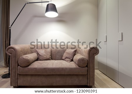 Interior with modern sofa - stock photo