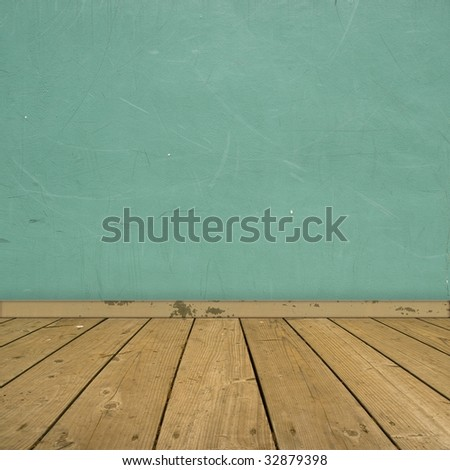 interior with pale blue wall and wooden floor - stock photo