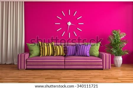 interior with pink sofa. 3d illustration - stock photo