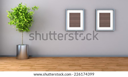 interior with plant and picture. 3D illustration - stock photo