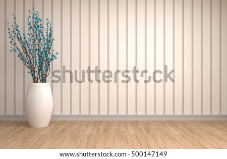 interior with plant. 3d illustration