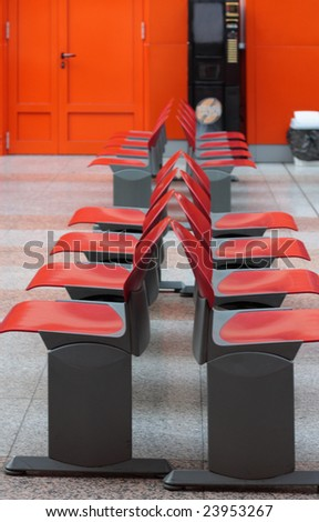 interior with red chair - stock photo
